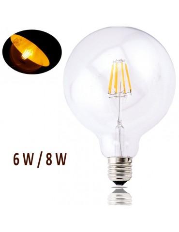 LED VINTAGE RETRO GLOBO G125 6/8W E27 230V CRISTAL TRANSPARENTE