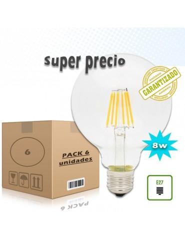 PACK 6 LED VINTAGE GLOBO G125 8W E27 230V CRISTAL TRANSPARENTE