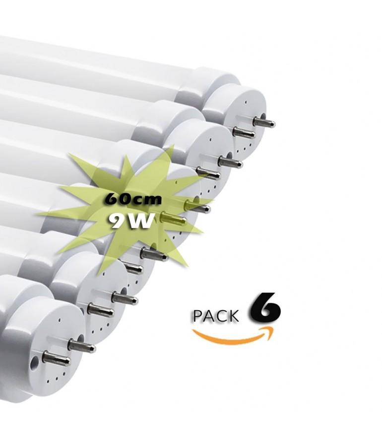 Pack 6 Tubos LED T8 60cm 9W Cristal 360°