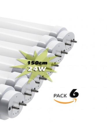 Pack 6 Tubos LED T8 150cm 24W Cristal 360°