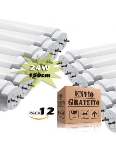 Pack 12 Tubos LED T8 150cm 24W Cristal 360°