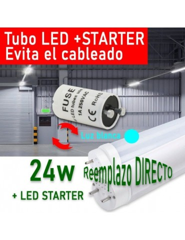 Tubo LED T8 150cm 24W +Cebador LED