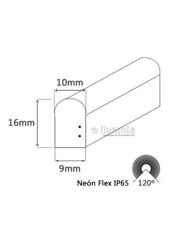 TIRA DE LED NEÓN AC230V 14,4W/m IP65 120°VERDE SMD3528impermeable Dimensiones