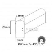 TIRA DE NEÓN LED RGB AC230V 14,4W/m IP65 Dimensiones