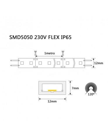 TIRA DE LED AC230V 14,4W/m IP65 CÁLIDA SMD5050 dimensiones