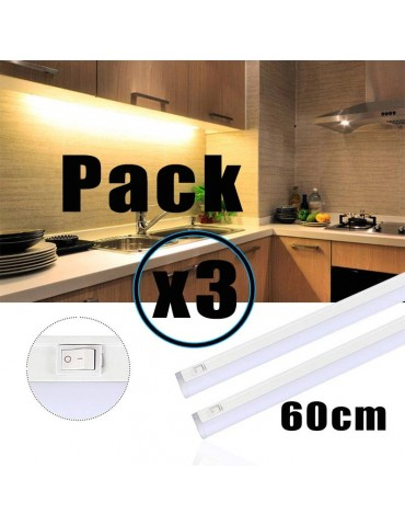 PACK 3 REGLETAS LED T5 8W 60cm con interruptor