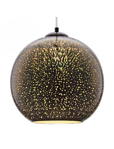 Lámpara Colgante 3D de Cristal y Metal Cromo Fireworks efecto Destellos.