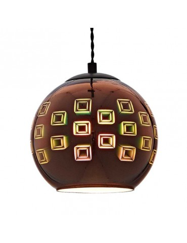 Lámpara Colgante 3D de Cristal y Metal Cobre Fireworks efecto cuadrados.