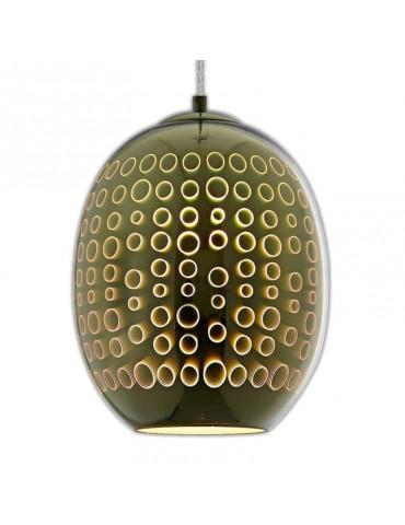 Lámpara Colgante 3D de Cristal y Metal Cromo Fireworks efecto círculos.