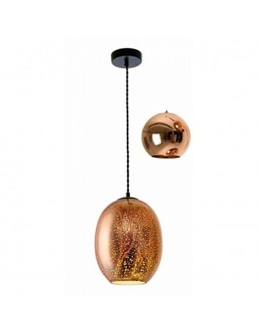 Lámpara Colgante 3D de Cristal y Metal negro efecto chispas de luz.
