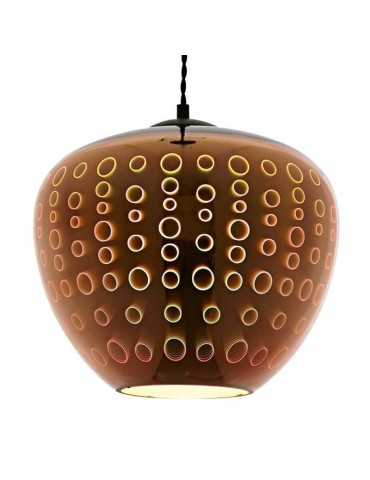 Lámpara Colgante 3D de Cristal y Metal cobre efecto círculos.