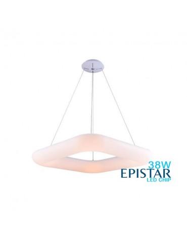 Lámpara Colgante Decorativa LED Cuadrada Blanca 38W 45cm