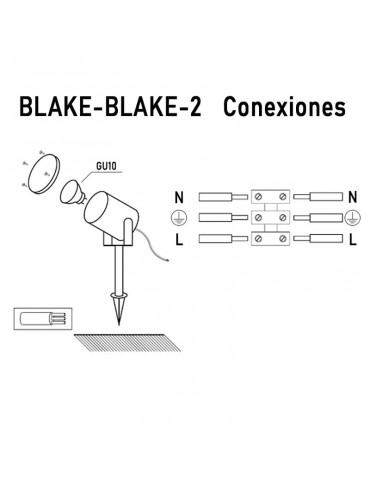 Proyector foco Jardín LED aluminio pincho BLAKE 2 conexiones