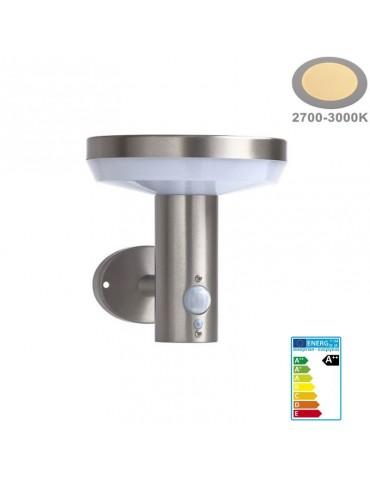 Aplique Solar LED Pared CIRCULAR INOX Sensor movimiento PIR