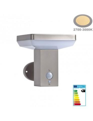 Aplique Solar LED Pared CUADRADO INOX Sensor movimiento PIR