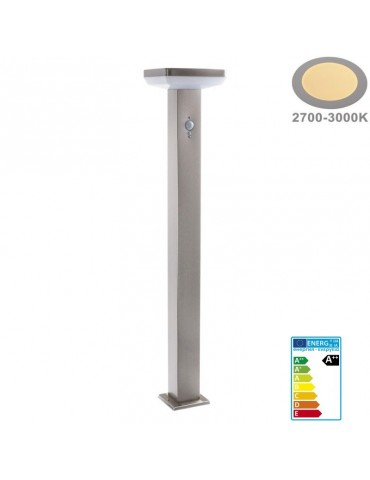 Baliza Solar LED CUADRADA INOX 80cm Sensor mov PIR