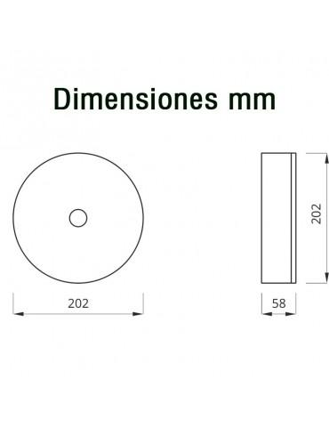 LUMINARIAS LED DE EMERGENCIA Y EVACUACIÓN SUPERFICIE CIRCULAR IP65 AXN 120lm dimensiones