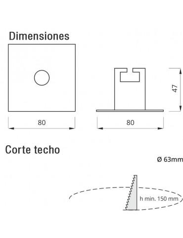 LUMINARIA LED DE EMERGENCIA Y EVACUACIÓN LED EMPOTRABLE CUADRADA EYE 120Lm dimensiones