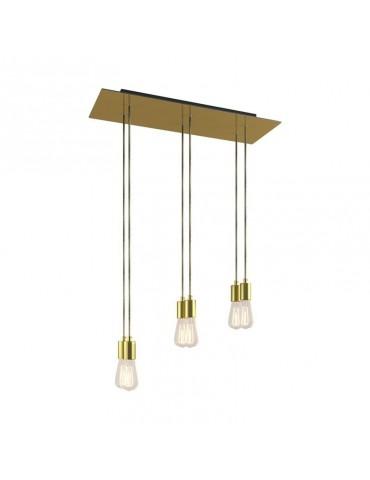 Lámpara colgante 6 caídas de diseño italiano WINNA Latón satinado