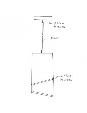 Lámpara colgante cemento de diseño italiano PRIMMA cemento  dimensiones