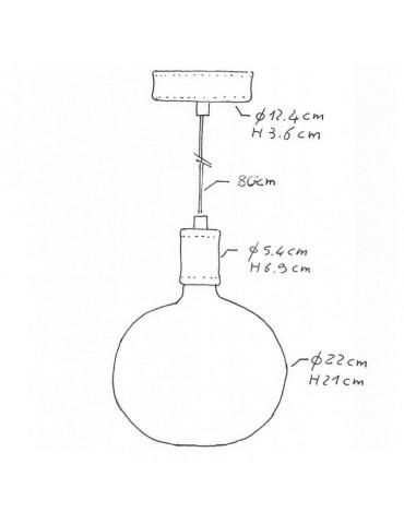 Lámpara colgante FIGGO cuero diseño italiano dimensiones