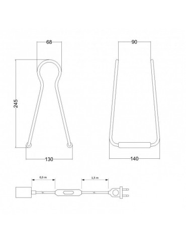 Lámpara de mesa TOUCH de diseño italiano Dimensiones