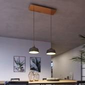 Lámpara colgante DEIA 2 caídas de diseño italiano cobre satinado