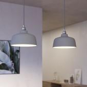 Lámpara colgante DEIA 2 caídas de diseño italiano acero satinado