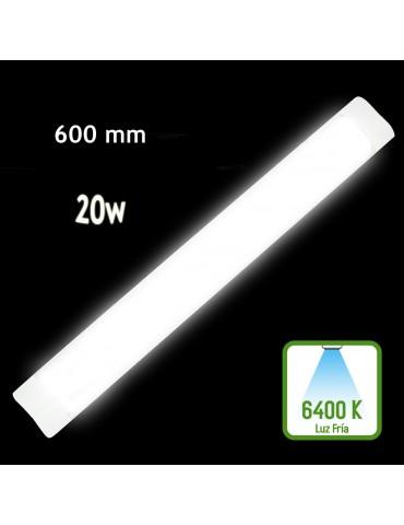 REGLETA LED SLIM 20W 60cm Aluminio PC 6400K