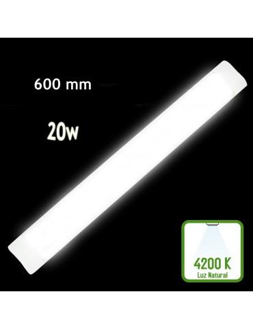 REGLETA LED SLIM 20W 60cm Aluminio PC 4200K