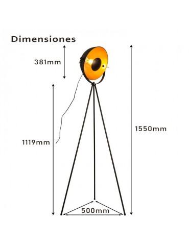 Lámpara de pie vintage industrial con trípode dimensiones