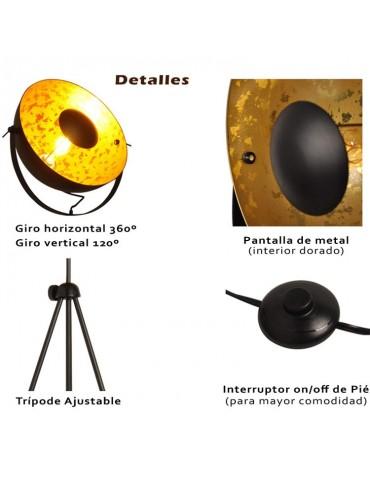 Lámpara de pie vintage industrial con trípode detalles