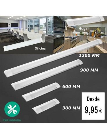 REGLETA LED SLIM 40W 120cm Aluminio+PC