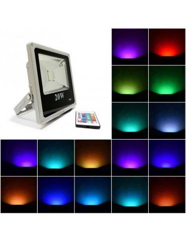 Foco Proyector Led 20W RGB Mando IR Slim IP65