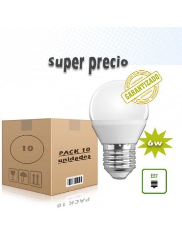 Pack 10 LED Esférica 6W E27 HTPC