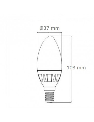 Bombilla LED Vela C37 E14 6W 230V HTPC dimensiones