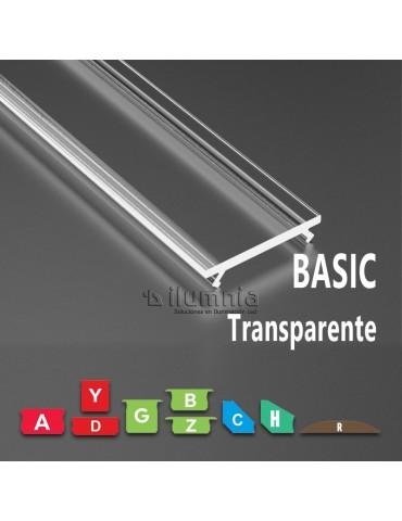 Difusor Transparente BASIC para Perfiles de aluminio