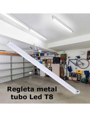 Regleta Aluminio tubo led T8 1 x 120cm 1 Extremo Porta tubo