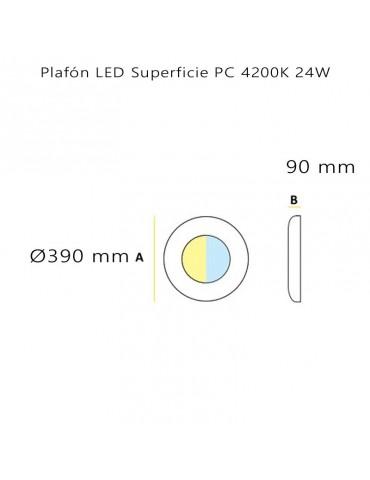 Dimensiones Plafón Led Circular 24W de superficie led integrado