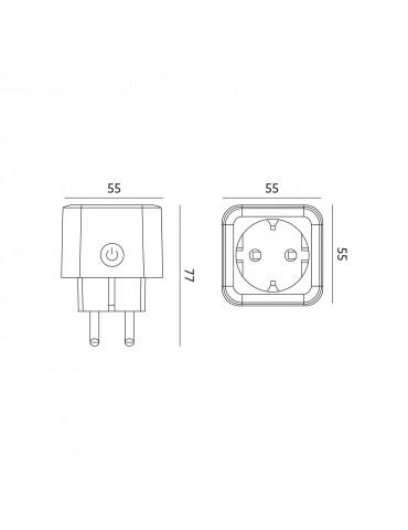 Enchufe SMART HOME controlable por WiFi dimensiones