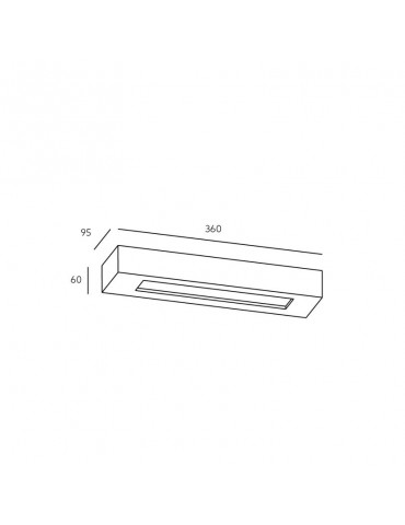 Aplique pared yeso rectangular modelo VELOCE dimensiones