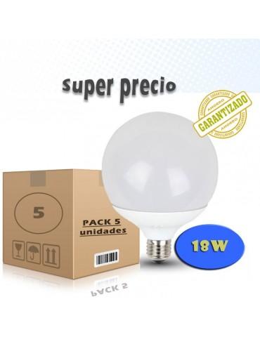 PACK 5 LED GLOBO G120 18W HTPC+Aluminio E27 230V