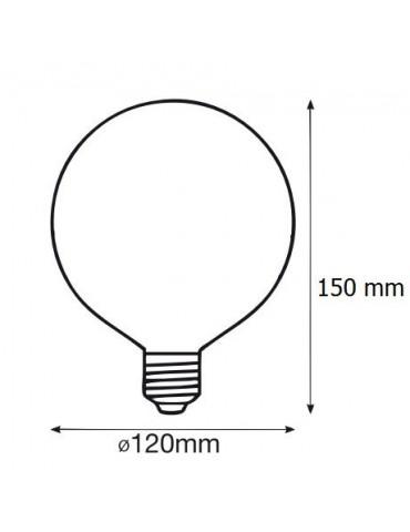 LED GLOBO G120 18W HTPC+Aluminio E27 230V dimensiones