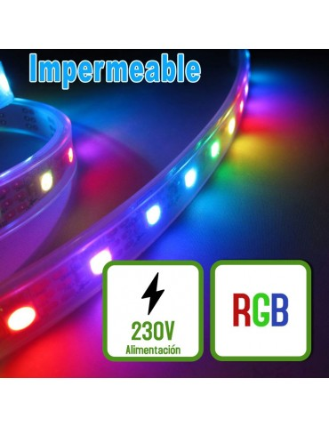 TIRA DE LED AC230V 14,4W/m IP67 160°RGB impermeable