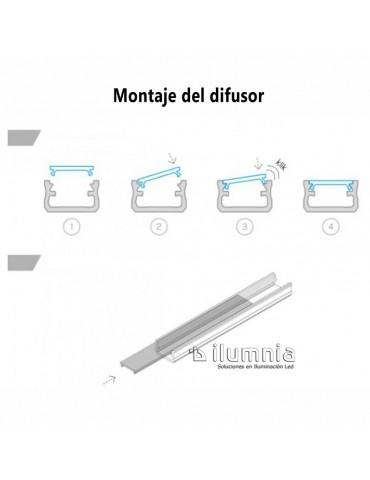 DIFUSOR GLASEADO PERFIL ALUMINIO SUPERFICIE BAJO