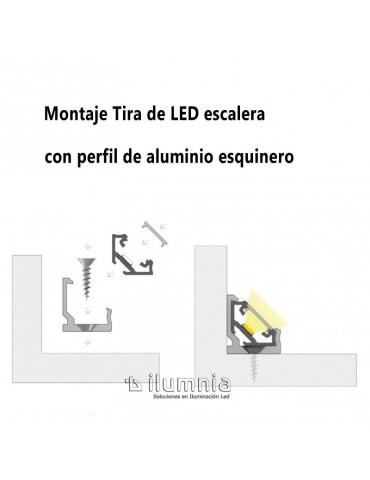 PERFIL ALUMINIO ANGULO 45° TIRA DE LED