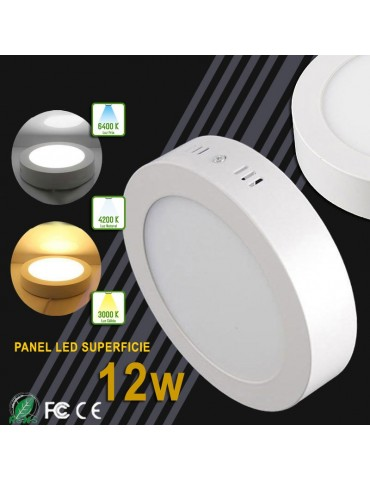 PANEL LED Downlight circular 12W plano de superficie