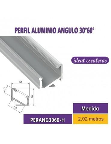 "PERFIL ALUMINIO ""H"" ANGULO 30° 60° TIRA DE LED"