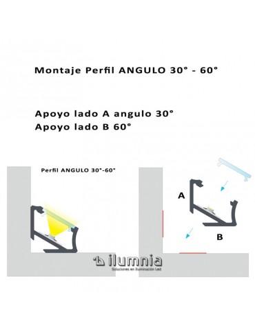 "PERFIL ALUMINIO ""C"" ANGULO 30-60° TIRA DE LED"